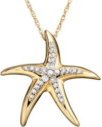 Macy's - Diamond Starfish Pendant Necklace In 14k Gold (1/10 Ct. T.w.) - Lyst