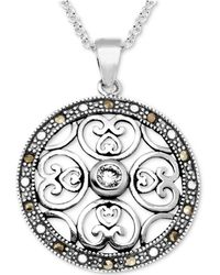 "Macy's - Marcasite & Crystal Openwork Circle 18"" Pendant Necklace In Fine Silver-plate - Lyst"