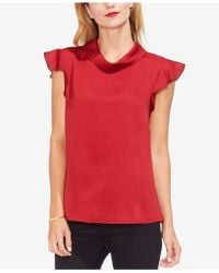 Vince Camuto - Mock-neck Ruffled Sleeve Top - Lyst