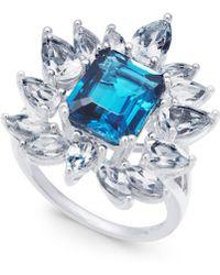 Macy's - Blue Topaz (3-1/2 Ct. T.w.) & White Topaz (2-5/8 Ct. T.w.) Ring In Sterling Silver - Lyst