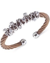 Charriol - Women's Tango Bronze Pvd Stainless Steel With White Topaz Stones Cable Bangle Bracelet - Lyst
