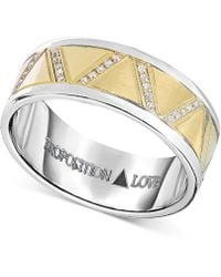 Proposition Love - Men's Diamond Wedding Band (1-1/10 Ct. T.w.) In 14k Yellow Gold & Cobalt - Lyst