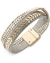 Lonna & Lilly - Two-tone Leather Multi-row Flex Bracelet - Lyst