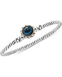 Effy Collection - Blue Topaz Twist Bangle Bracelet (3-5/8 Ct. T.w.) In Sterling Silver And 18k Gold - Lyst