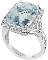 Macy's - Aquamarine (9-1/2 Ct. T.w.) & Diamond (3/8 Ct. T.w.) Ring In 14k White Gold - Lyst