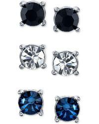 2028 - Silver-tone Blue, Black & Clear Trio Stud Earrings - Lyst