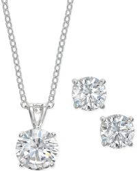 City By City | Silver-tone Crystal Stud Earrings And Pendant Necklace Set | Lyst