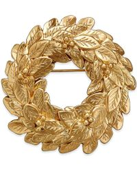 Charter Club - Gold-tone Wreath Pin - Lyst