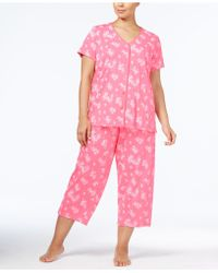 Charter Club | Plus Size Loop-trimmed Top And Cropped Pants Pajama Set | Lyst