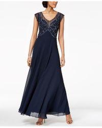 Lyst - J Kara Plus Size Beaded V-neck Gown in Black