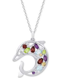 "Macy's - Multi-gemstone Openwork Dolphin 18"" Pendant Necklace (2-1/8 Ct. T.w.) In Sterling Silver - Lyst"