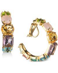 "Carolee - Gold-tone Multi-stone 1"" Clip-on Hoop Earrings - Lyst"