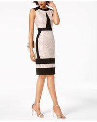 Ivanka Trump - Metallic-lace Contrast Sheath Dress - Lyst