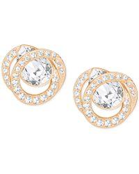 Swarovski - Rose Gold-tone Crystal Stud Earrings - Lyst