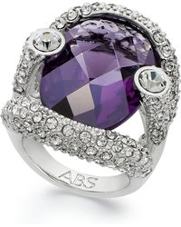 ABS By Allen Schwartz - Ring, Silver-tone Faceted Purple Stone Pave Crystal Ring - Lyst