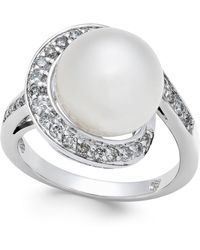 Macy's - Cultured South Sea Pearl (11mm) And Diamond (3/8 Ct. T.w.) Ring In 14k White Gold - Lyst