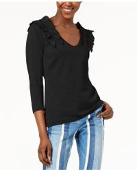 INC International Concepts - I.n.c. Ruffled V-neck Sweater, Created For Macy's - Lyst