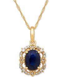 Macy's - Sapphire (1 Ct. T.w.) & Diamond (1/10 Ct. T.w.) Pendant Necklace In 14k Gold - Lyst