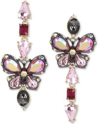 Betsey Johnson - Tri-tone Stone Butterfly Mismatch Linear Drop Earrings - Lyst