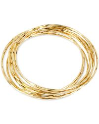 Hint Of Gold - Thin Bangle Bracelet Set In 14k Gold Over Metal - Lyst