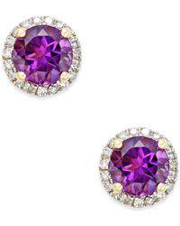 Macy's - Amethyst (1-1/2 Ct. T.w.) And Diamond (1/6 Ct. T.w.) Stud Earrings In 14k Gold - Lyst