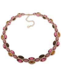 """Anne Klein - Gold-tone Stone Collar Necklace, 16"""" + 3"""" Extender - Lyst"""