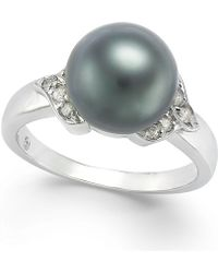 Macy's - Tahitian Pearl (9mm) And Diamond Ring (1/6 Ct. T.w.) In 14k White Gold - Lyst