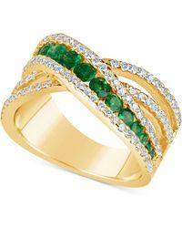 Macy's - Emerald (9/10 Ct. T.w.) And Diamond (3/4 Ct. T.w.) Crisscross Ring In 14k Gold - Lyst