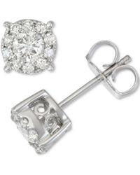 Macy's - Diamond Halo Stud Earrings (1/2 Ct. T.w.) In 14k White Gold - Lyst