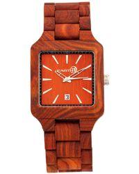 Earth Wood - Arapaho Wood Bracelet Watch W/date Red 39mm - Lyst