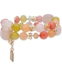 Anne Klein - Gold-tone Multi-stone Double-row Stretch Bracelet - Lyst