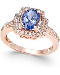 Macy's - Tanzanite (1-1/8 Ct. T.w.) And Diamond (1/3 Ct. T.w.) Ring In 14k Rose Gold - Lyst