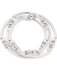 Nine West - Classics Silver-tone Set Of 3 Bangle Stretch Bracelet - Lyst