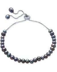 Macy's - Gray Cultured Freshwater Pearl (4mm) Bolo Bracelet In Sterling Silver - Lyst