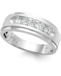 Macy's - Men's Five-stone Diamond Ring In 10k White Gold (1 Ct. T.w.) - Lyst
