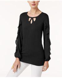 Alfani - Keyhole Ruffle-sleeve Sweater - Lyst