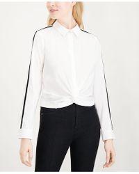 Maison Jules - Twisted Velvet-trim Shirt, Created For Macy's - Lyst