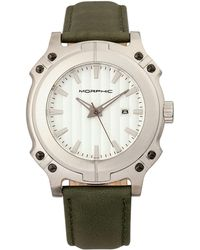 Morphic - M68 Series Leather-band Watch W/ Date - Silver/olive - Lyst
