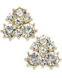 Charter Club - Gold-tone Crystal Cluster Stud Earrings - Lyst