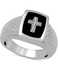 Macy's - Onyx & Diamond Accent Cross Ring In Sterling Silver - Lyst