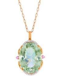 Lali Jewels - Green Amethyst, Pink Sapphire (73-3/4 Ct. T.w.) And Diamond (1/4 Ct. T.w.) Pendant Necklace In 18k Rose Gold - Lyst