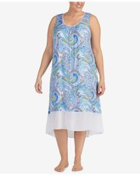 Ellen Tracy - Plus Size Printed Chiffon-hem Nightgown - Lyst