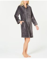 Miss Elaine - Textured Fleece Zip Robe - Lyst