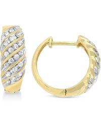 Wrapped in Love - Diamond Channel Hoop Earrings (1/2 Ct. T.w.) In 10k Gold - Lyst