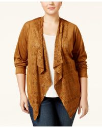 American Rag - Trendy Plus Size Faux-suede Laser-cutout Jacket, Only At Macy's - Lyst