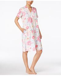Miss Elaine | Short-sleeve Zip-front Robe | Lyst