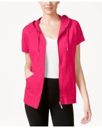 Style & Co. - Short-sleeve Zip-front Hoodie, Only At Macy's - Lyst