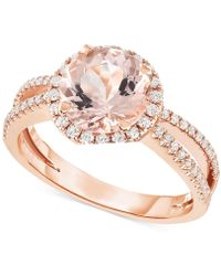 Macy's - Morganite (1-5/8 Ct. T.w.) & Diamond (1/3 Ct. T.w.) Ring In 14k Rose Gold - Lyst