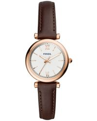 Fossil - Mini Carlie Brown Leather Strap Watch 28mm - Lyst