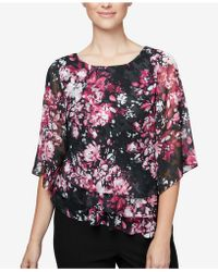 Alex Evenings - Floral-print Petite Tiered Top - Lyst